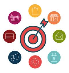 social marketing flat icons vector image vector image
