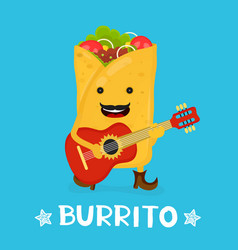 tasty cute happy smiling burrito dance vector image vector image