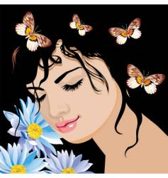 the dreaming girl vector image