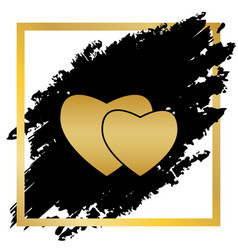 Two hearts sign golden icon at black spot vector