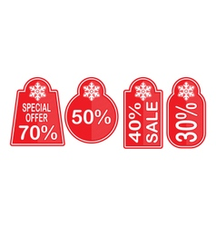 Christmas sale cards set red on white background vector