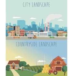 Set of urban and countryside landscapes vector