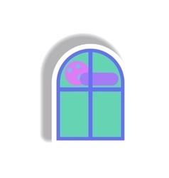 paper sticker Halloween icon vector image