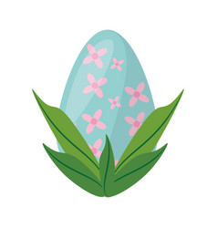 easter egg with leaves decoration vector image