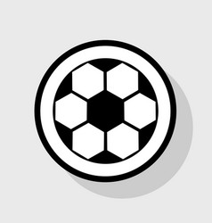 soccer ball sign  flat black icon in white vector image