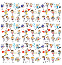 Seamless background with kids exercise vector