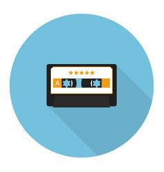 Flat music audio cassette vector