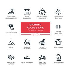 Sporting goods store - modern simple icons vector
