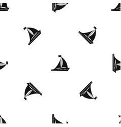 Sailing ship pattern seamless black vector