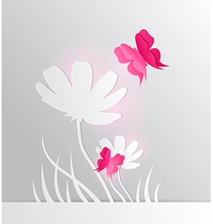 paper flower and red butterfly vector image