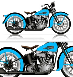 Blue classic motorcycle vector