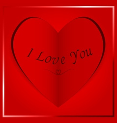 Paper heart card i love you vector