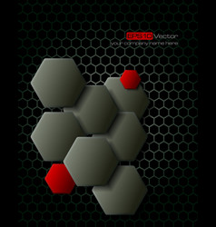 Dark gray hexagons technology background vector