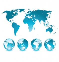 Globes and world map vector