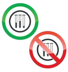 Test-tubes permission signs vector