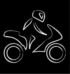 A biker on a motorbike with sketch effect vector