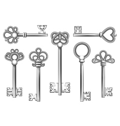 Vintage key set in engraving style vector image