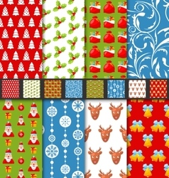 Set seamless christmas pattern santa stag toys vector image