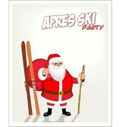 Santa and skiing apres ski party poster vector