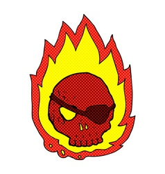 Comic cartoon burning skull vector