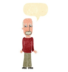 Cartoon dad shrugging shoulders with speech bubble vector