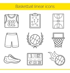 Basketball linear icons set vector