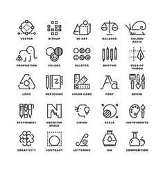 Creative design process linear icons for vector image