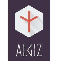 Algiz rune of elder futhark in trend flat style vector