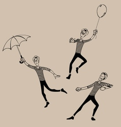 Mime coloring outline set 02 vector