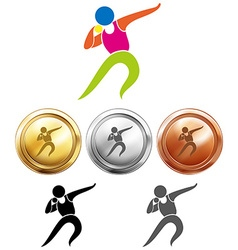 Sport icon for shot put and medals vector