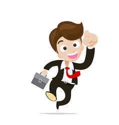 Businessman jumping with joy on the white vector