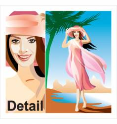 The girl on a beach vector