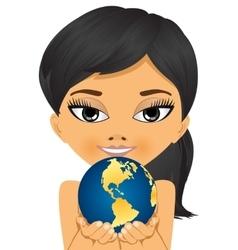 asian little girl holding earth globe vector image vector image