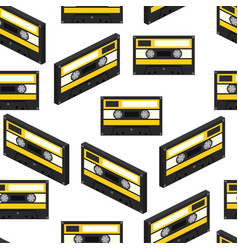 Audiocassette seamless pattern vector