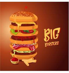 big burger multi-storey high hamburger cartoon vector image
