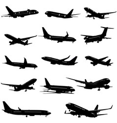 Black and white silhouettes 0f passenger airplane vector