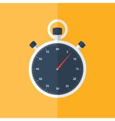 Blue stopwatch icon over orange vector