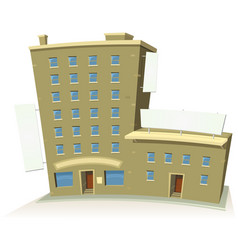 cartoon shop building with apartments and banners vector image vector image