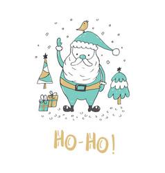 Christmas greeting card with santa claus vector