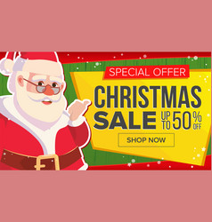 christmas sale banner with classic santa claus vector image