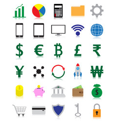 Colorful fintech flat icons with reflection vector