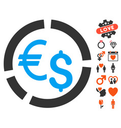 Currency diagram icon with dating bonus vector