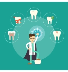 Dental treatment banner with male dentist vector