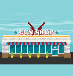 Facade of gun shop flat vector
