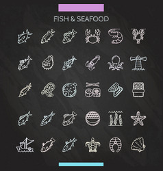 Fish and seafood chalk icons vector
