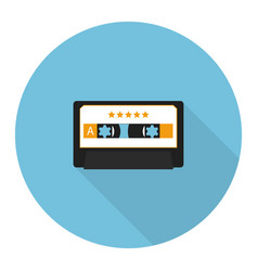 Flat music audio cassette vector