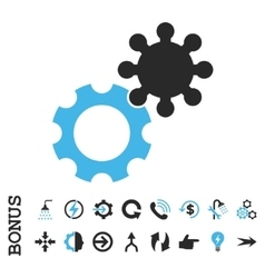 Gears Flat Icon With Bonus vector image