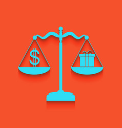 Gift and dollar symbol on scales whitish vector