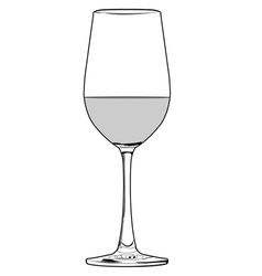 glass of wine outline vector image vector image