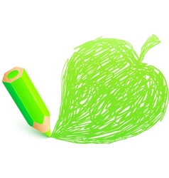 Green cartoon pencil with doodle leaf vector image
